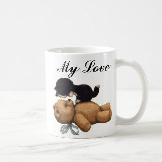 Cute Teddy Bear And Black Cat - My Love Classic White Coffee Mug