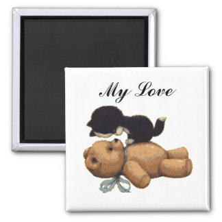 Cute Teddy Bear And Black Cat - My Love Square Magnet