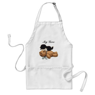 Cute Teddy Bear And Black Cat - My Love Standard Apron