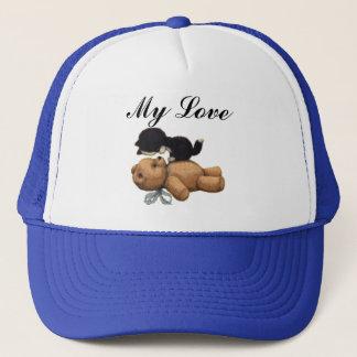 Cute Teddy Bear And Black Cat - My Love Trucker Hat