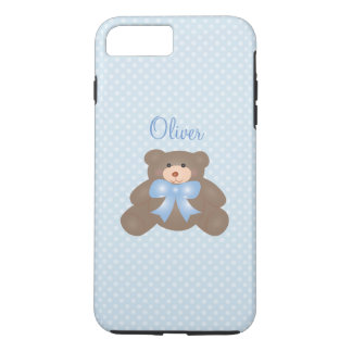 Cute Teddy Bear And Pastel Blue Polka Dot Pattern iPhone 7 Plus Case