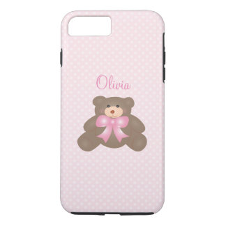 Cute Teddy Bear And Pastel Pink Polka Dot Pattern iPhone 7 Plus Case