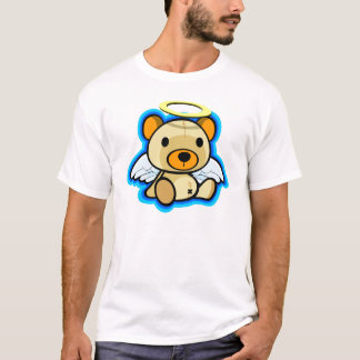 Cute teddy bear angel in white shirt