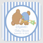 Cute Teddy Bear Baby Shower Square Sticker!