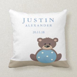 Cute Teddy Bear Birth Announcement Pillow