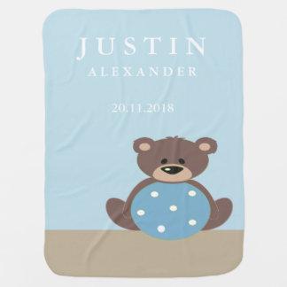Cute Teddy Bear Birth Stats Blanket