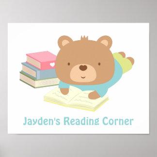 Cute Teddy Bear Books Reading Corner Poster