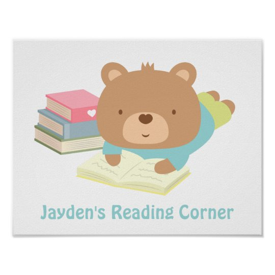 Cute Teddy Bear Books Reading Corner Poster