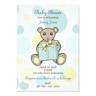 Cute Teddy Bear Boy or Girl Baby Shower 13 Cm X 18 Cm Invitation Card