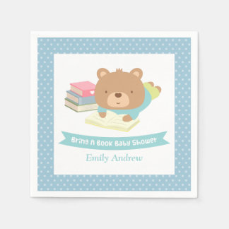 Cute Teddy Bear Bring a Book Baby Shower Standard Cocktail Napkin