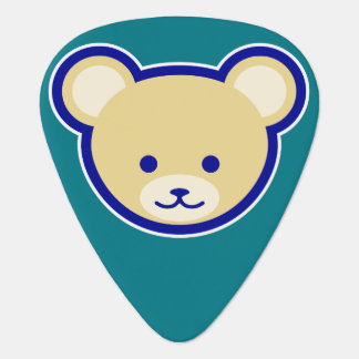 Cute Teddy Bear Cartoon beige on blue Plectrum