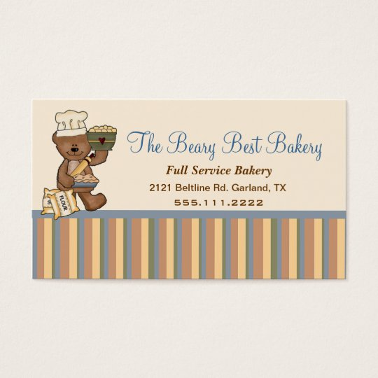 Cute Teddy Bear Chef Bakery Business Card