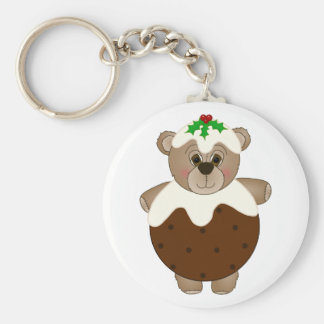 Cute Teddy Bear Dressed as a Christmas Pudding Basic Round Button Key Ring