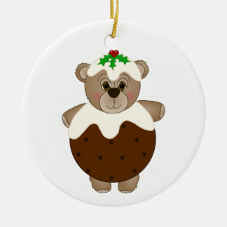 Cute Teddy Bear Dressed as a Christmas Pudding Ornaments
