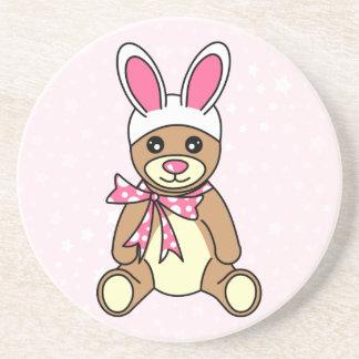 Cute Teddy Bear Easter Bunny Ears Pink Beverage Coasters
