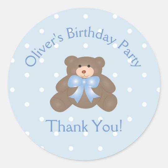 Cute Teddy Bear First Birthday Party Thank You