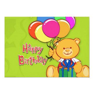 cute teddy bear happy birthday card 13 cm x 18 cm invitation card