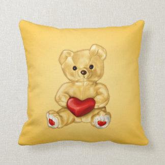 Cute Teddy Bear Hypnotist Holding a Heart Yellow Cushion
