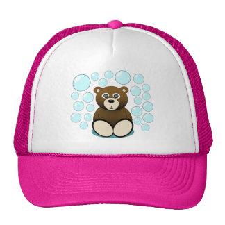 cute teddy bear in bubbles cap