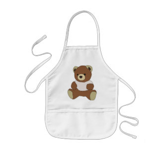 Cute Teddy Bear in Pink T-Shirt Aprons