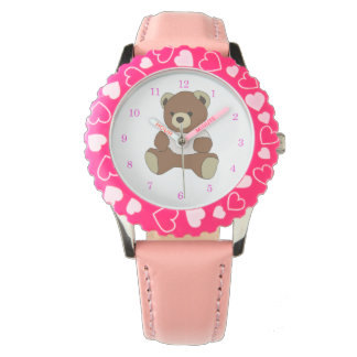 Cute Teddy Bear in Pink T-Shirt Watch