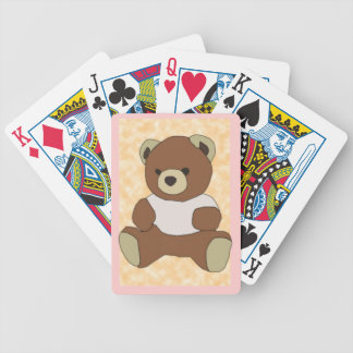Cute Teddy Bear In Pink TShirt on Peach Background Bicycle Playing Cards