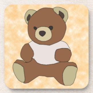 Cute Teddy Bear In Pink TShirt on Peach Background Drink Coaster