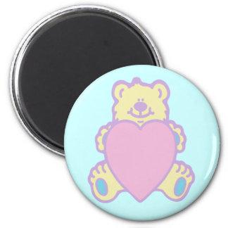Cute Teddy Bear Love Heart 6 Cm Round Magnet