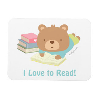 Cute Teddy Bear Loves To Read For Kids Flexible Magnet