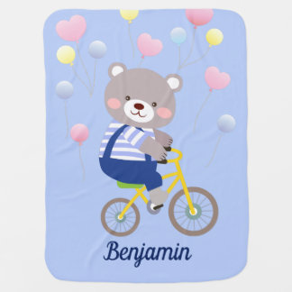 Cute Teddy Bear on Bicycle Baby Blanket