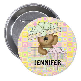 Cute Teddy Bear on pastel background button badges