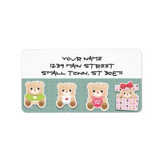 Cute teddy bear Pattern  on green background Label