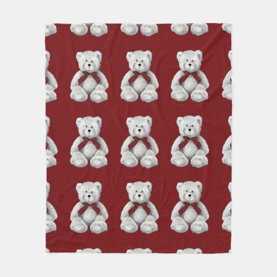 Cute Teddy Bear, Pencil Drawing, Polka Dots Fleece Blanket