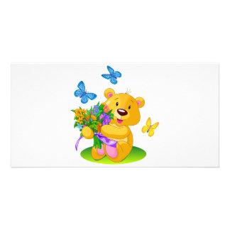 Cute teddy bear photo card template