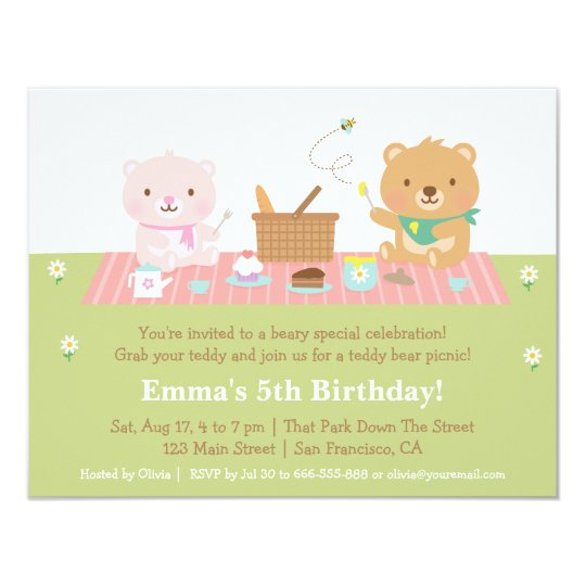 Cute Teddy Bear Picnic Birthday Party Invitations
