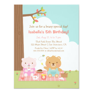 Cute Teddy Bear Picnic Outdoor Kids Birthday Party 4.25x5.5 Paper Invitation Card