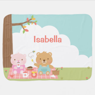 Cute Teddy Bear Picnic Party Outdoor For Babies Baby Blanket