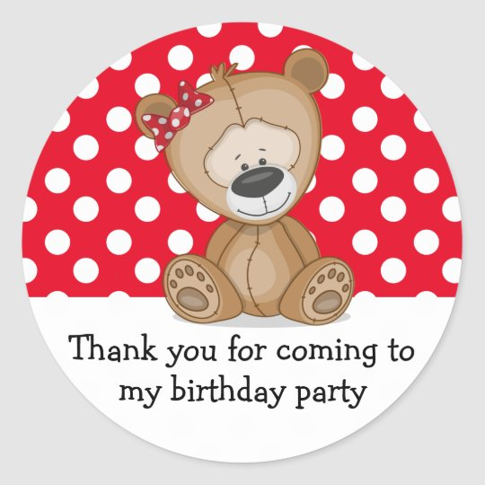 Cute Teddy Bear Polka Dots Birthday Thank You