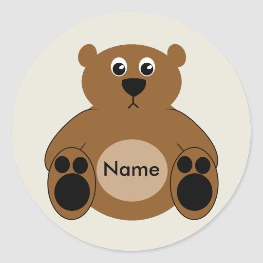 Cute Teddy Bear Stickers with Customisable Name