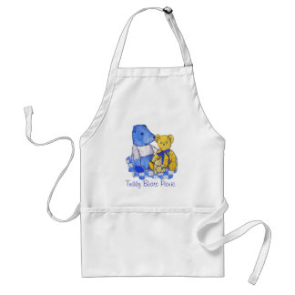 cute teddy bear still life art blue and yellow standard apron
