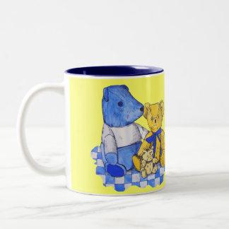 cute teddy bear still life art blue and yellow Two-Tone mug