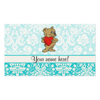 Cute Teddy Bear; Teal Double-Sided Standard Business Cards (Pack Of 100)