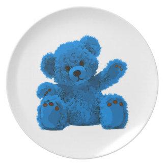 Cute teddy Bear, teddy bear, blue Party Plate