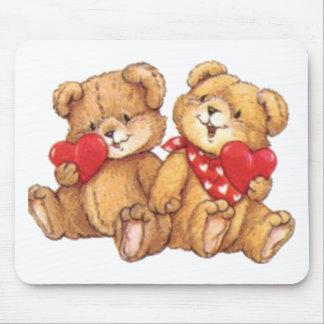 Cute Teddy Bear Valentine Couple Mouse Mat