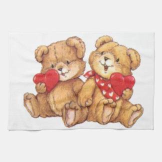 Cute Teddy Bear Valentine Couple Tea Towel