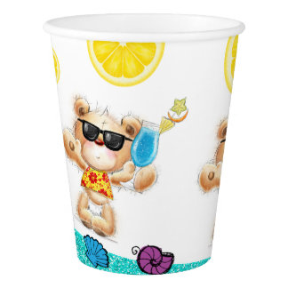 Cute Teddy Bear With Cocktail Paper Cup