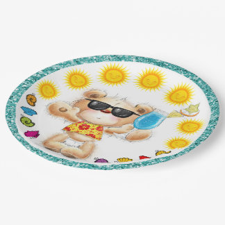 Cute Teddy Bear With Cocktail Party Goods Plate 9 Inch Paper Plate