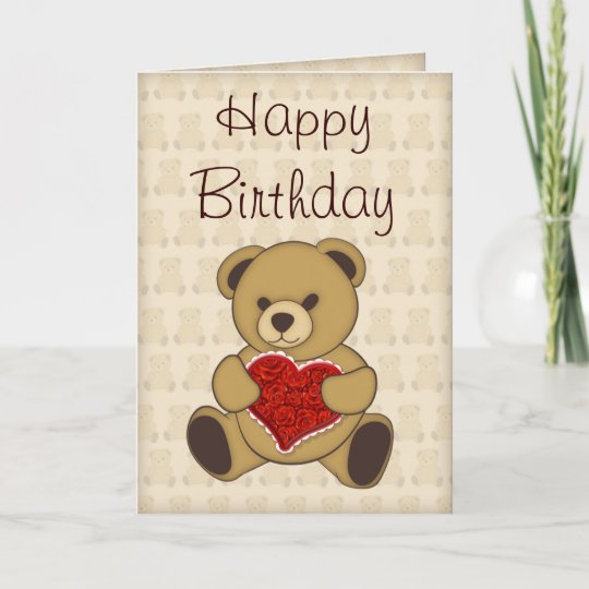 Cute Teddy Bear With Roses Birthday Card