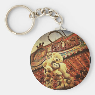 Cute Teddy Bears at the Carnival Basic Round Button Key Ring