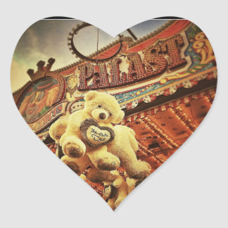 Cute Teddy Bears at the Carnival Heart Stickers